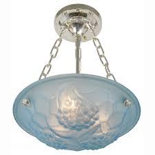 art deco lighting fixtures chandeliers. french art deco signed degue ceiling bowl chandelier light fixture (ant-369) - for sale lighting fixtures chandeliers