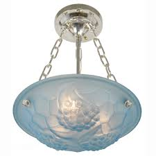 french art deco signed degue ceiling bowl chandelier light fixture ant 369 for