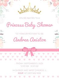 Princess Invitations Free Template Free Princess Baby Shower Invitations Mesmerizing Princess Baby