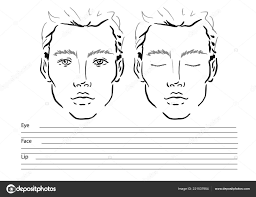 man face chart makeup artist blank template ilration stock photo