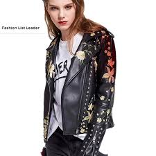 2017 spring autumn fashion brand good quality beading embroidery leather jacket las street style pu leather