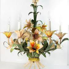 vintage italian tole lily chandelier ceiling lamp 6 light tropical fl