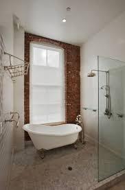 Bathroom : Airy Bathroom With Brick Wall Near Oval White Clawfoot ...