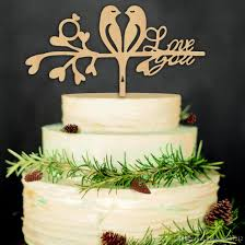 2019 8 Styles Wood Cake Topper For Wedding Funny Love Bird Cake
