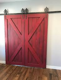 red barn doors. Rustic Colonial Red Double Barn Doors By WoodMetalandBeyond   Sliding Pinterest Doors, And