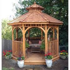 wooden gazebo round patio backyard outdoor pavilion garden house yard hardtop 10