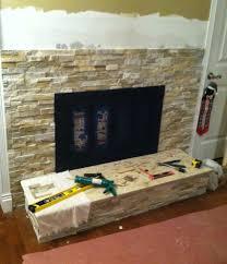 diy fireplace stone tile
