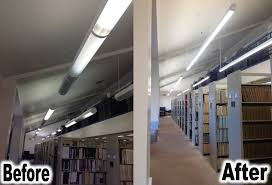 library lighting. F_M (Library) - Before (Fluorescent Lighting) And After (LED Library Lighting