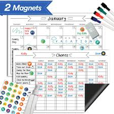Magnetic Whiteboard Chore Chart Reusable Dry Erase Calendar Set For Kids Teens Adults Reward Behavior Chart Kids Responsibility Magnets