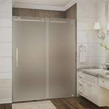 bathroom shower doors frosted. Beautiful Shower Completely Frameless Sliding Shower In Bathroom Doors Frosted O