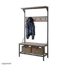 Industrial Coat Rack Bench Hall Tree Industrial Metal Wooden Coat Rack Storage Bench Entryway 69