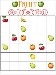 Sudoku Template Fruit Sudoku Template Kid Crafts Math Math Games Printable Puzzles