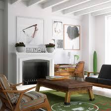 Red Chairs For Living Room Mid Century Rustic Living Room L Shape Sofa Cream Fur Rug Three