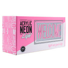 pink welcome welcome acrylic box neon locomocean