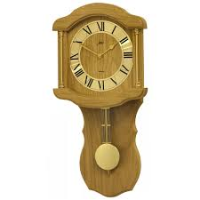 quartz battery light oak finish wall clock