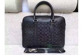 coach embossed signature leather briefcase bag black large 71798