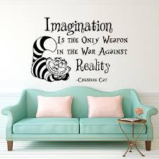 Superb Cheshire Cat Saying Imagination Is The Only Weapon Quotes Wallpaper Alice  In Wonderland Mural Kids Room Decor Vinyl Decal D 311 In Wall Stickers From  Home ...
