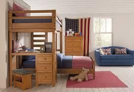 add blue sofa inside spacious kids bedroom with wooden bunk beds with desk and oak dresser bunk bed desk