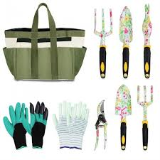 eslibai garden tools set aluminum alloy heavy duty hand gardening kit with soft gloves a garden tote and 6 pcs garden tools wit