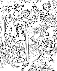 Small Picture Building the Sukkah for Sukkot Jewish Holiday coloring page