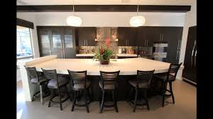 kitchen island rectangle white granite countertop varnished wooden bar stools with cushion and backsets sink faucet