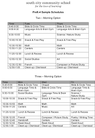 Sample Of Schedules Sample Schedules South City Community School A Charlotte