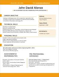 1 Page Resume Format Simple Sample Resume Format For Fresh Graduates One Page Format Resume