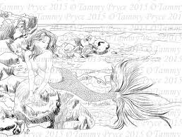 Fantasy Mermaid Adult Coloring Page Digi Stamp Instant Download