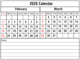 Month Of March Calendar 2020 Free February March 2020 Printable Calendar Templates