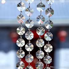 Großhandel 100 Meter K9 Klarglas Kristall Perlen Girlande Kronleuchter Strang Hochzeit Event Party Diy Hängende Dekoration Weihnachtsbaum Kronleuchter