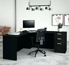 sleek office desk. Office Desk Modern Gray Single Pedestal Corner In Sleek Deep Black Finish White And Glass E