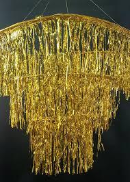 stunning lit three tier gold fringe chandelier image ideas