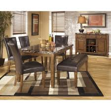 table 2 chairs and bench. lacey rectangular dining room table, 2 side chairs \u0026 large uph bench table and
