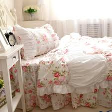 pink rose lace ruffle princess bedding sets girl cotton twin full queen king past home textile coverlets pillow duvet cover fashion bedding full size