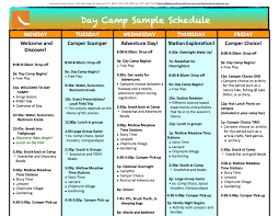 Summer Camp Weekly Schedule Sample Week Of Camp Adventure Summer Camp In Colorado Camps For