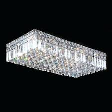 cascade 6 light chrome finish and clear crystal flush mount ceiling rectangular chandelier lighting