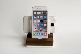 wood charging station for 2 devices walnut wood and white acrylic stand for 2 smartphones or tablets iphone dock wood ipad dock