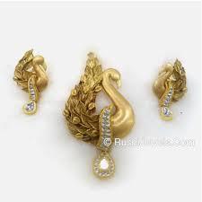 wholer of 22kt antique gold pendant set peacock design jewelxy 50633
