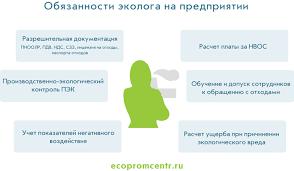 Эколог на предприятии или экологическое сопровождение  обязанности эколога на предприятии