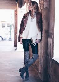 leather leggings outfit over the knee suede boots and brown suede moto jacket with white