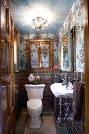 traditional half bathroom ideas. Bathroom:Traditional Guest Bathroom Design With Damask Wall And Tile Wainscoting Decorating Ideas Traditional Half