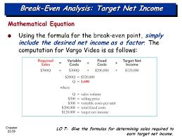 break even ysis target net income