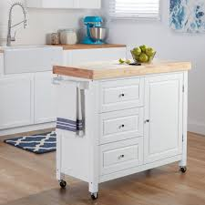Maison Rouge Hardy Natural Rubberwood Kitchen Island Cart Free