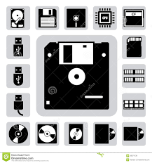 Computer And Storage Icons Set Stock Vector Illustration Of