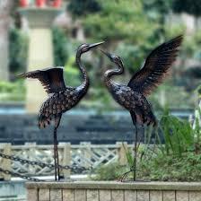 crane garden statues metal heron yard