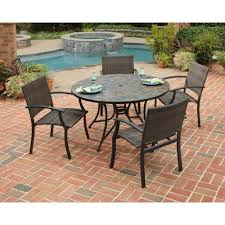 5 piece slate tile top round patio dining