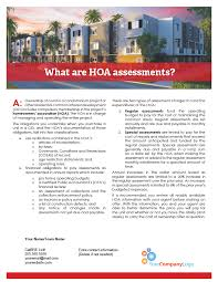Client Q A What Are Hoa Assessments First Tuesday Journal