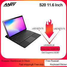 ANRY S20 11.6 Inch RU ES Bán Hàng RAM 4GB 128GB ROM Android 8.1 Máy Tính  Bảng Deca Core 4G LTE GPS Google Play 2 Trong 1 Phablet