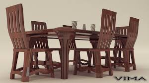 dining table sets. Stylish Wooden Dining Table Set 3d Model Max Obj Fbx 3 Sets