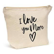 natural canvas makeup bag i love you more friendship gift fun canvas travel